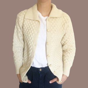 Vintage Button Front Irish Wool Fisherman Sweater